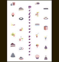 set icons in flat design desserts vector image