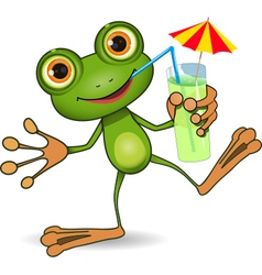 Frog and cocktail vector image