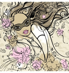 Beautiful woman with carnival mask vector