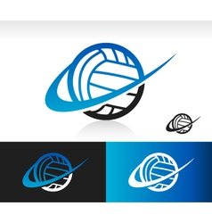 Swoosh volleyball logo icon vector