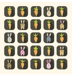 Easter carrots and rabbits icon set vector