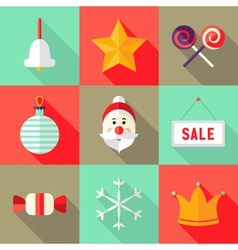 9 christmas flat icons set 1 vector