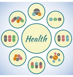 Health card pharmacy icons set pills and capsules vector