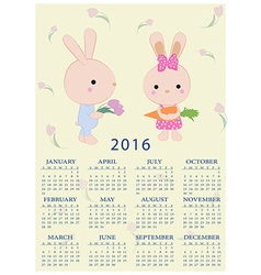 Calendar for 2016 with cartoon and funny bunnies vector