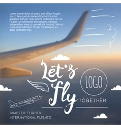Lets fly typographic airline poster vector