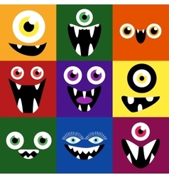 Cartoon monster faces set cute square vector