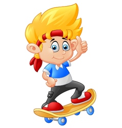 Little boy playing skateboard vector