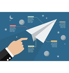Hand launch paper rocket in space infographic vector