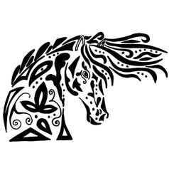 Black horse coloring or tattoo vector