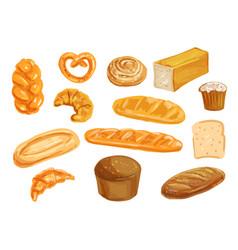 Bread watercolor set for bakery shop design vector