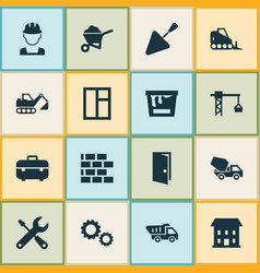 Building icons set collection of wall glass vector