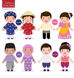 Children of the world Vietnam Philippines Brunei vector image vector image