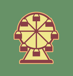 Ferris wheel sign cordovan icon and vector