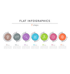 flat style 7 steps timeline infographic template vector image vector image
