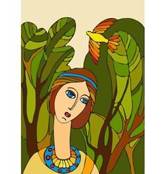 Girl Face Bird vector image