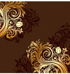 Gold floral ornaments vector