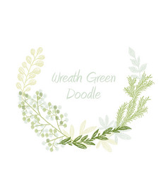 Green doodle hand drawn leaves and grass wreath vector