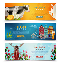 Holland travel horizontal banners set vector