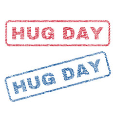 Hug day textile stamps vector