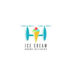 Ice cream cone delivery drone logo flat style vector