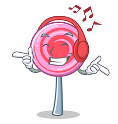 listening music cute lollipop character cartoon vector image vector image