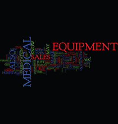Medical equipment sales career text background vector
