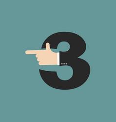 Number 3 letter businessman hand font it shows vector