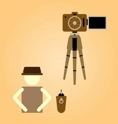 Remote shooting portrait myself concept vector