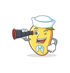 Sailor mango character cartoon mascot with vector