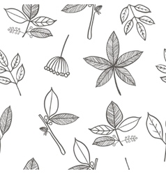 seamless pattern with leaf branches and berries vector image vector image