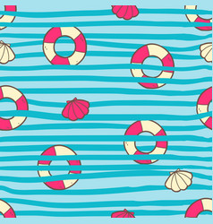 seamless summer pattern with color life ring and vector image vector image