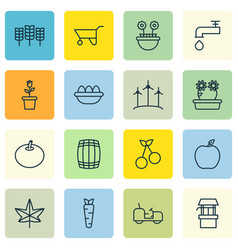 Set of 16 agriculture icons includes floweret vector