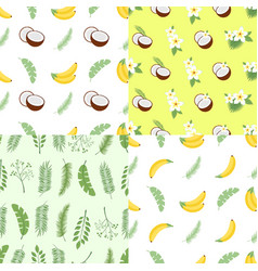 set of seamless summer patterns backgrounds with vector image