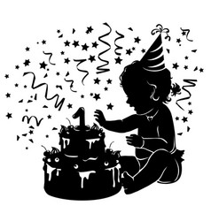 silhouette baby girl with birthday cake with vector image vector image