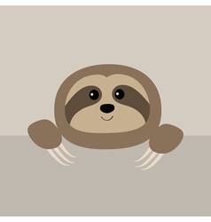Sloth face and hands cute cartoon character wild vector