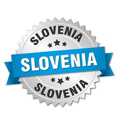 Slovenia round silver badge with blue ribbon vector