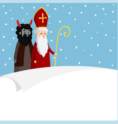 st nicholas with devil falling snow and blank vector image vector image