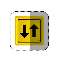 Sticker yellow square shape frame two way traffic vector
