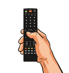 tv remote control in hand television video film vector image