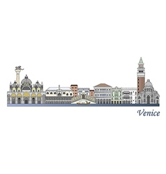 Venice skyline colored vector image