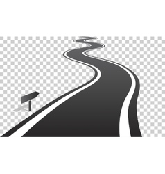 Winding road with white lines leaving over the vector image vector image