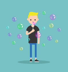 Young character blowing soap bubbles flat vector