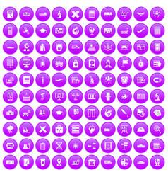 100 globe icons set purple vector