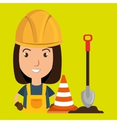 Woman shovel warning construction vector