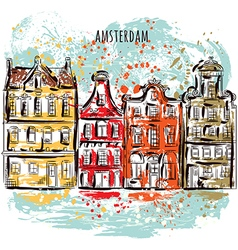 Amsterdam traditional architecture of netherlands vector