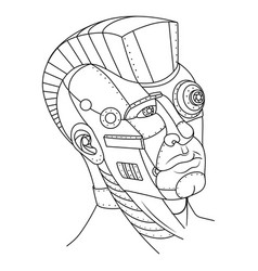 Steam punk style man head coloring book vector