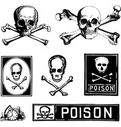 Vintage skull crossbones vector image