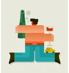 Drunk man with the bottle vector
