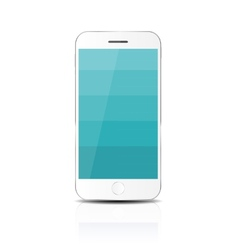 New realistic mobile phone with blue screen vector