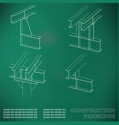 3d metal construction the beams and columns cover vector